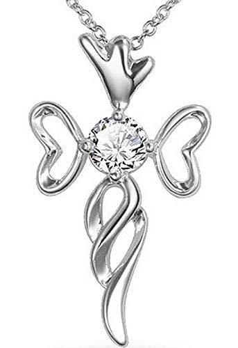 Inception Pro Infinite Collar corazón de mujer – Crucifijo – Corazón – Brillante – Cruz – Punto de luz – Navidad – Color plateado – Strass