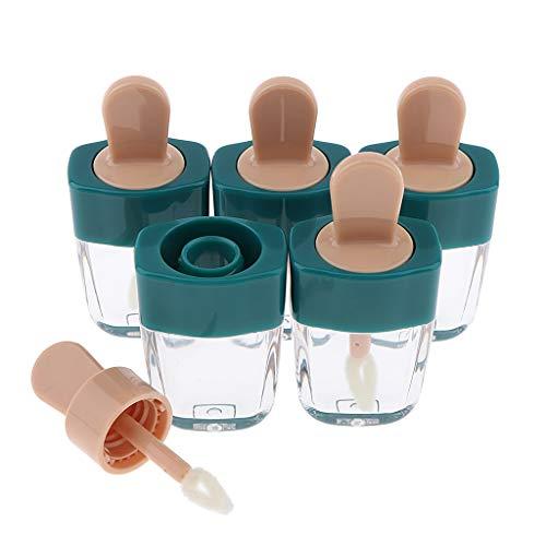 #N/a 5pcs 6ml Clear Empty Lip Gloss Oil Tubes Lápiz Labial Botellas Recargables Viales - Verde