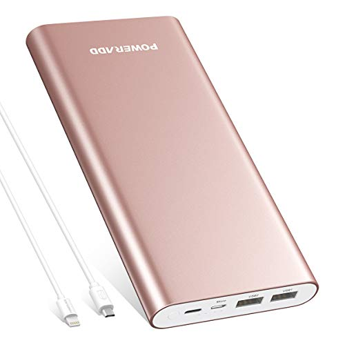 Poweradd Pilot 4GS Plus 20000mAh Power Bank with 8-Pin& Micro Input Cable, 3.6A Fast Charger Universal for iPhone, iPad, Samsung, LG, HTC and More - Rose Gold (8 Pin, USB Cable Included)