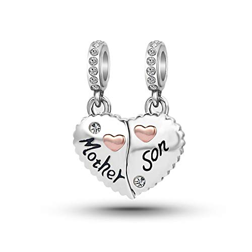 KunBead Jewelry Clearance Heart Family Birthstone Angel New Anniversary Mother Son Mom Bead Charms for Bracelet