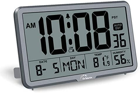 WallarGe Digital Wall Clock Autoset Desk Alarm Clocks with Temperature Humidity and Date Battery product image