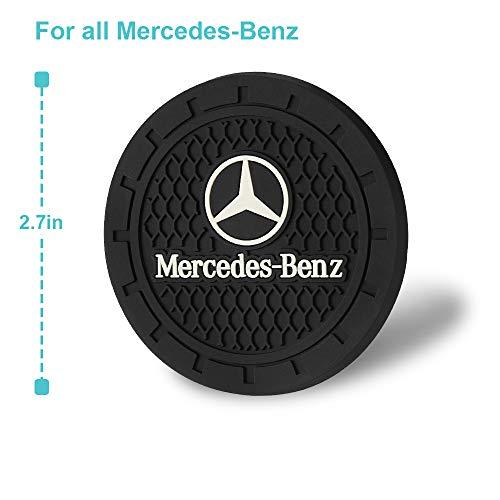 Bocianelli 2 Pcs 2.75 inch Car Interior Accessories Anti Slip Cup Mat for Mercedes-Benz S Serie,E Serie,C Serie,W Series,A Series,etc All Models (Mercedes-Benz)