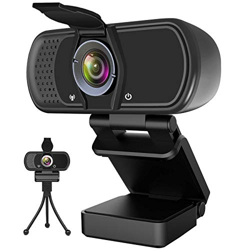 Webcam with Microphone, Hrayzan 1080P HD Webcam with Privacy Cover and Tripod, Streaming Computer...