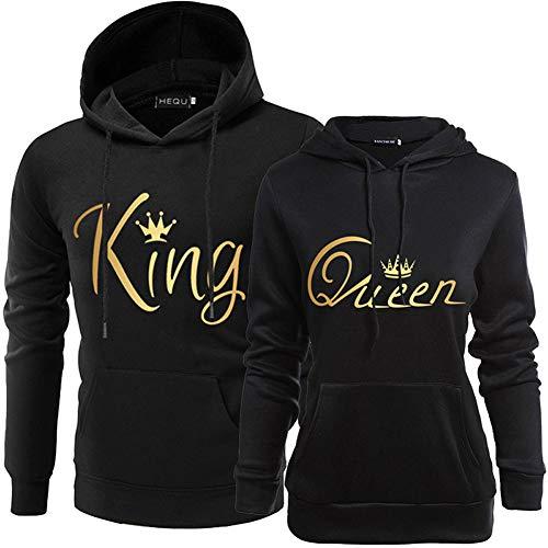 Coppie Felpa con Cappuccio King Queen Corona Stampa Manica Lunga Felpa Uomo Donna Pullover con Tasche