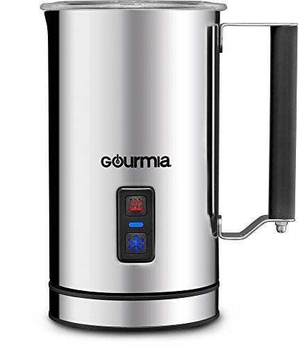 Gourmia GMF215 Cordless Electric Milk Frother & Heater, 3 Function, Detachable Base for Easy Serving, Stainless Steel, Silver