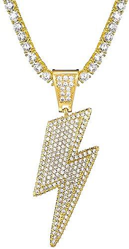 NC190 Collar con Colgante de relámpago Brillante Helado con Cadena de Tenis Material de Cobre Circón cúbico Hombres Mujeres Joyería de Hip Hop-Color Dorado