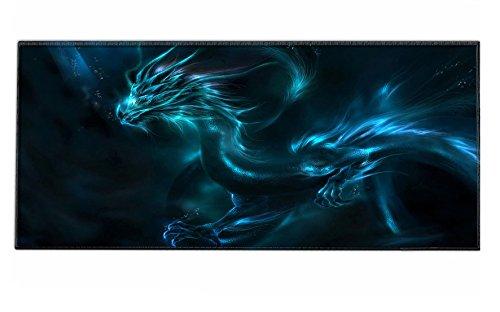 Silent Monsters Mauspad Größe XXL (900 x 400 mm) Mousepad Groß Design: Dragon - Vernähter Rand geeignet für Office und Gaming Maus sowie Tastatur