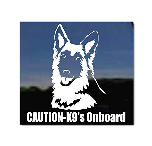Caution - K9's Onboard ~ German Shepherd Dog Vinyl Window Decal Sticker