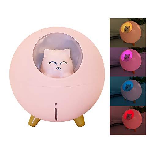 PTN 220ML Mini Humidificadores Ultrasónicos con Fuente de Alimentación USB, Humidificador Silencioso con Luces LED, Luz de Respiración Colorida del Humidificador de Escritorio para el Hogar/Oficina