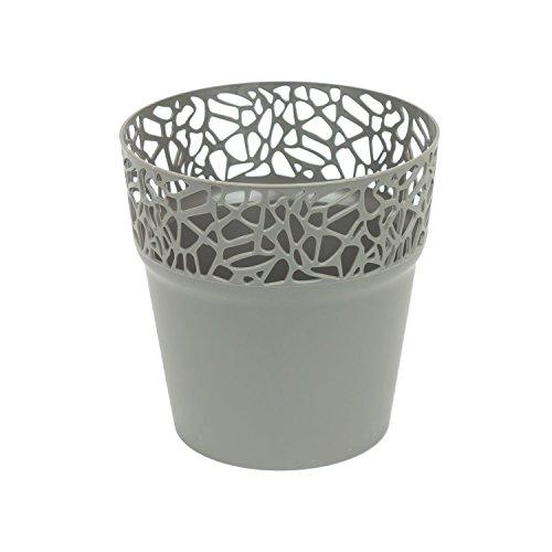 Rond cache-pot 14.5 cm NATURO plastique romantique style en gris