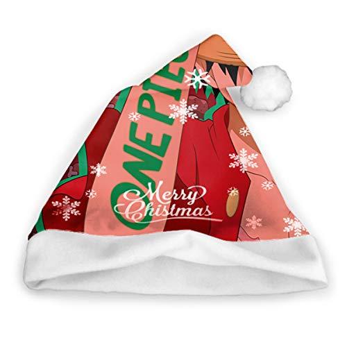Qinckon Anime One Piece hat1pc Sombrero de Santa Claus Sombrero de Navidad Gorra de Navidad Festival Decoración Regalo para niño Adulto