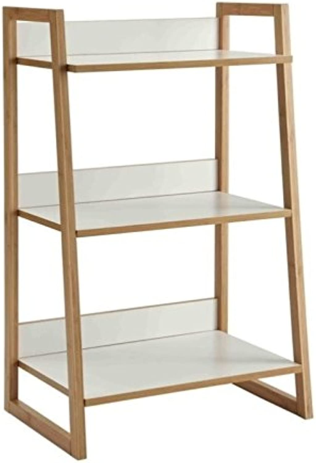 Pemberly Row 3 Tier Shelf in White and Bamboo