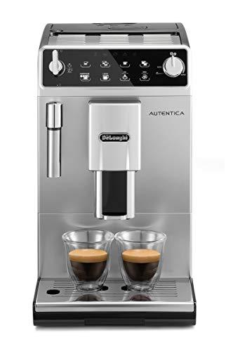 De'Longhi Autentica ETAM29.510.SB Macchina da Caffè Automatica per Espresso e Cappuccino, 13 livelli di macinatura, Caffè in Grani o in Polvere, 1450 W, Argento/Nero