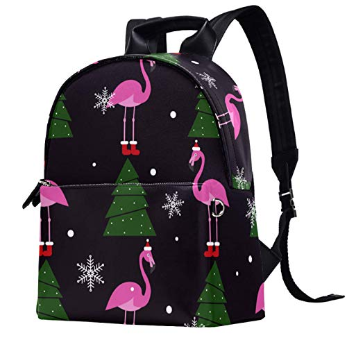 Travel Backpack Backpacks for Women Men College School Student Gift,Bookbag Casual Hiking Daypack,Christmas Pink Flamingo XMAS Tree Snowflake