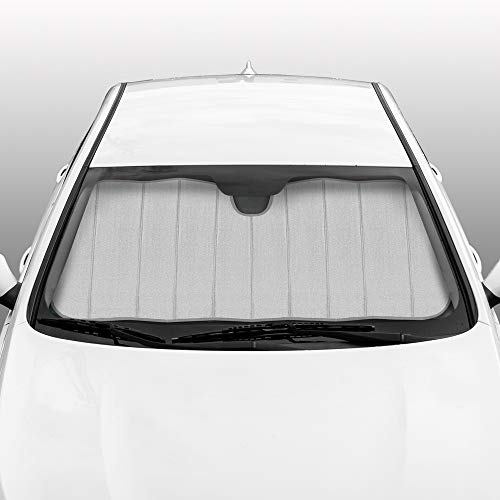 BDK AS-2511-SL Front Windshield Shade-Accordion Folding Auto Sunshade for Car Truck SUV-Blocks UV Rays Sun Visor Protector-Keeps Your Vehicle Cool-57 x 27 Inch, Silver Glitter