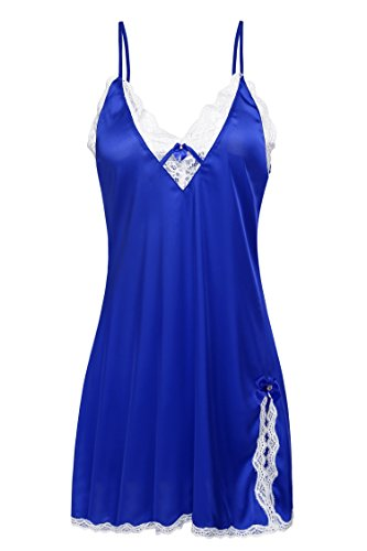 Ekouaer Womens Enchanting Sleepwear Dress Lace Trim Chemise Plus Size,Dark Blue,Medium