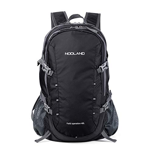 NODLAND Light Weight Backpack, 40L Foldable Water-Resistant Daypack, Hiking Outdoor Camping Rucksack for Men and Women, Large Capacity Black