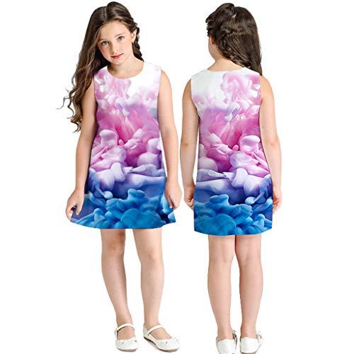 K-youth® Vestido para niña Fiesta Vestidos de Dibujos Animados de impresión en 3D sin Mangas para niños pequeños Ropa para niñas Casual Chicas Vestido de Playa Verano de 7 a 10 años Ninas