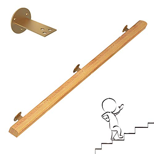 WZNING Wall-mounted Style Wooden Staircase Handrail,50~300cm Handrail Kit - With Iron Bracket,Safety Non-Slip Hand Rail Wall Mounted for Indoor And Outdoor non-slip (Size : 250CM)