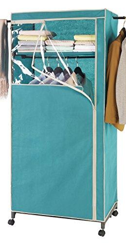 Wenko 86354500 Kleiderschrank 2in1 Breeze-mit Garderobenarmen und Ablage, Polypropylen, 75 x 166 x 50 cm, Petrol, 50 x 75 x 166 cm