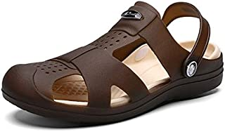 Summer Casual Sandals for Men New Men Beach Slippers Breathable Hole Flats Light Male Massage Shoes Men Sandals Slippers (Color : Brown, Shoe Size : 7.5)