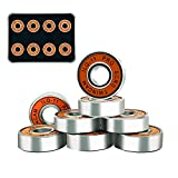 Vimeka Skateboard Bearings, 608rs Ball Bearing Top Precision ABEC -11 Pro Longboard Bearings for Skateboard, Quad Skate, Inline Roller Blades, Scooters Wheels and Spinners (Pack of 8)