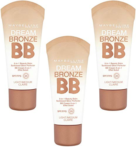 3 x Maybelline Dream Bronze BB 8 in 1 Beauty Balm SPF25 30ml - Light/Medium