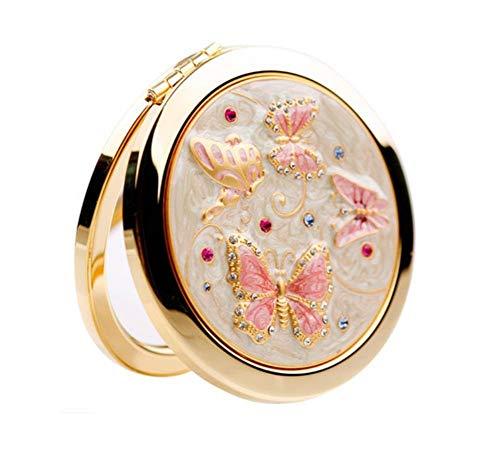ZGYQGOO Haut Gamme Strass incrusté Motif Papillon Mignon Portable Pliant Double Face Miroir Maquillage doré Porter