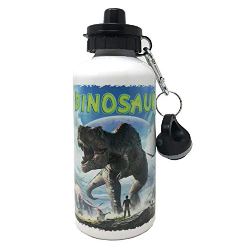 Botella de aluminio con mosquetón y cierre hermético, libre de sustancias nocivas – Capacidad 500 ml – Con dibujo simpático de dinosaurios (Mod. 1)