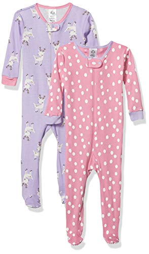 GERBER Baby Girl's Organic 2 Pack Cotton Footed Unionsuit Sleepwear, Reindeer, 6 Months