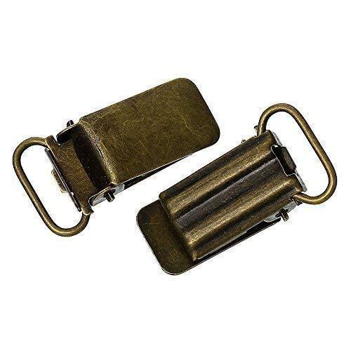 Bacabella 21805 Clips 3,3x1,8cm Bronze für z.B. Baby Schnullerkette oder Hosenträger (5 Stück)