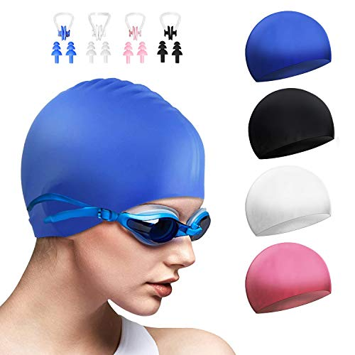 DECYOOL 4 Sets Silicone Swim Cap,Waterproof Swimming Cap with Silicone Nose Clip & Earplugs Cover Ears