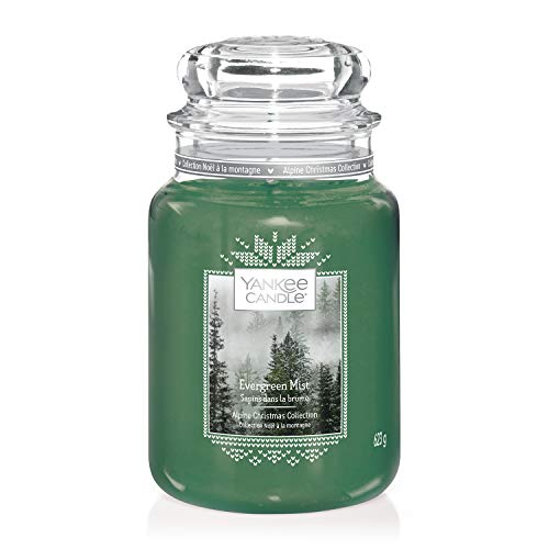 Yankee Candle Large Jar Scented Candle, Evergreen Mist, Alpine Christmas Collection, Up to 150 Hours Burn Time
