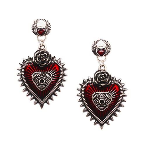 XIGAWAY 1 par de pendientes de corazón de ojo de diablo estilo gótico para mujer