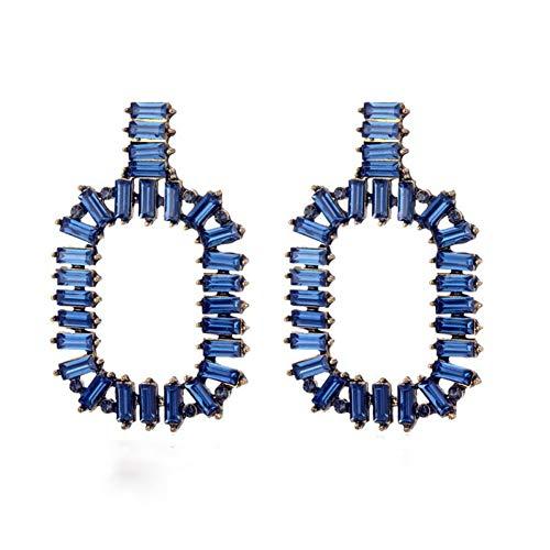 FGFDHJ Pendientes Cuadrados Pendientes llamativos de Cristal Blanco Pendientes de Diamantes de imitación de circonita con Gota de Oro para Mujer