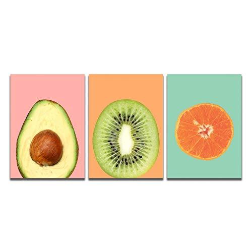 MLSWW Trittico Stampa 3D su Tela Pittura su Tela Kiwi Fruit Poster Stampe Immagine Arte della Parete Soggiorno Camera Letto Regalo della Decorazione della famiglia-50x70cm