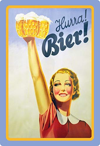 Blechschild 20x30cm gewölbt Plakat Hurra Bier Reklame Retro Deko Geschenk Schild
