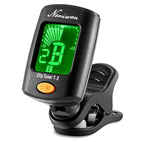 Guitar Tuner, Naniwan T-2 Clip On Tuner for Chromatic, Guitar, Bass, Ukulele C, 4 Tuning Modes, 440Hz A4 Range, LCD Digital Display