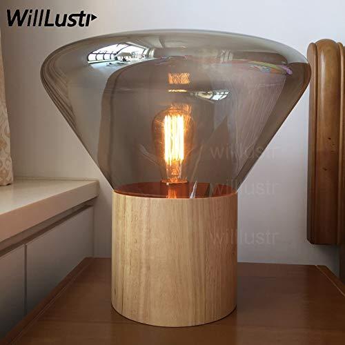 5151BuyWorld lamp muffins tafel brokis lamp hout startpagina basis rook barnsteen helder glazen scherm tafelverlichting Scandinavisch design modern bureaulicht jaargang lamp {Small & Small}