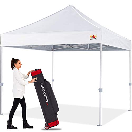 Premium Pop Up Canopy Tent 10x10 Commercial Instant Shelter, Bonus Wheeled Carry Bag and 4 Sand Bags, White