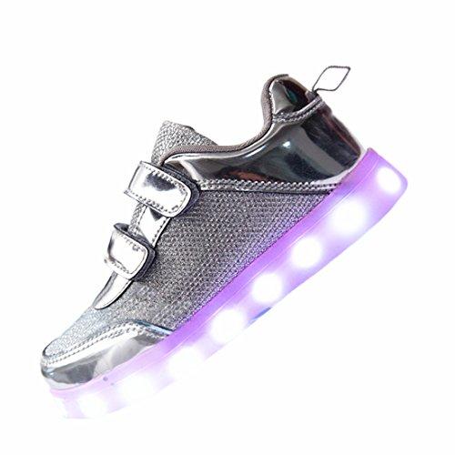 DoGeek LED Schuhe Kinder Damen 7 Farbe USB Aufladen Leuchtend Sportschuhe Led Kinder Farbwechsel Sneaker Turnschuhe für Herren Damen (31 EU, Silver)