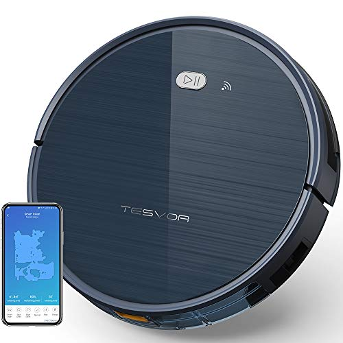 Tesvor Robot Vacuum Cleaner with App & Remote Control, Upgraded 1500 Pa Max Suction, Ultra-Slim, Self-Charging Robotic Vacuum Cleaner for Pet Hair, Compatible with Alexa Voice Control -Moon Gray Dining Features Kitchen Robotic Vacuums