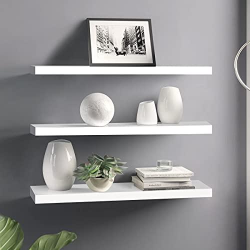 Floating Shelves Set of 3 Wall Shelves, 40 x 12 x 1.5 cm, Wall Mounted Shelves Space Saving Shelf MDF Shelves with Gloss White Finish.