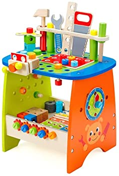 Ohuhu Tool Workench Toy Set Kids Toy Play Workbench Kids Wooden Tool Bench Workshop Workbench with Tools Set  89 Piece Set  Wooden Construction Bench Toy for Boys Girls Age 3 4 5 6 7