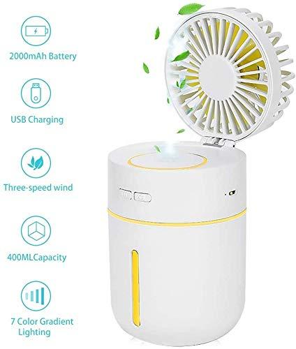 DAI QI Refrigerador de aire portátil de 400 ml humidificador de vapor frío, móvil humidificador de aire mini ventilador de la bruma portátil personal humidificador del ventilador del aerosol de agua d