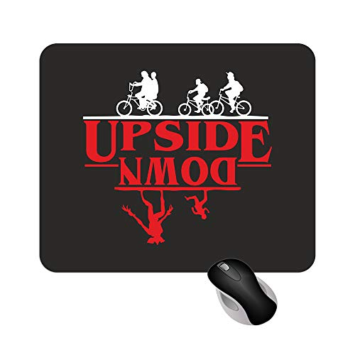 Fashion Graphic Tappetino Mouse Mousepad Upside Down Stranger Things Inspiredserie TV Netflix 18x22cm Gadget (Nero Stampa Rossa)
