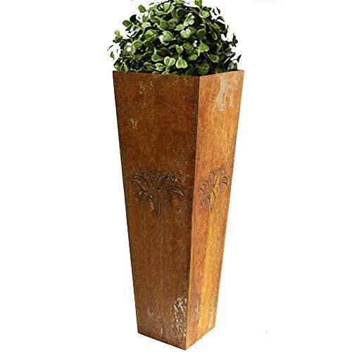 EQT-TEC Designer Garten 90cm Rostsäule Pflanzkübel Blumentopf Übertopf Blumenkübel