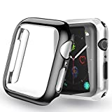 Yoowei [2-Pack Apple Watch Series 4/Series 5 Fundas 40mm (Negro + Plata), Protector iWatch Case Protección Completo Ultra Funda Suave TPU para Nueva Apple Watch 4/5 40mm