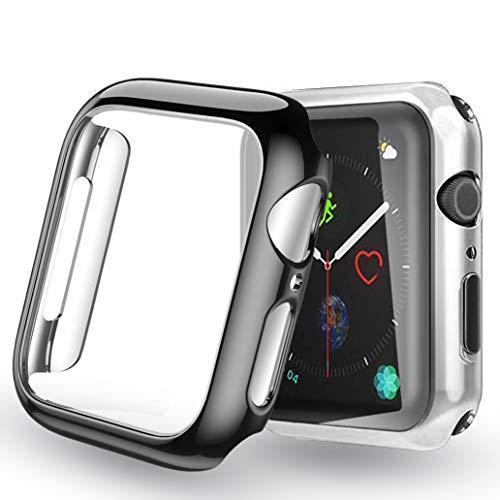 Yoowei [Confezione da 2] Cover per Apple Watch 42mm Series 3   Series 2, iWatch Case Protettore Schermo Protettivo Tutto Intorno Trasparente Morbido TPU Paraurti Silicone Custodia, Argento + Nero