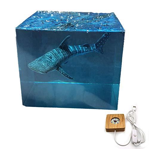 FTIK Ozeanhai , Taucher , Wal LED Nachtlicht & Lampe, Kunst Skulptur Statue Dekoration, Harz handgemachte Kunstwerke, Desktop-Dekorationen Geschenk A2
